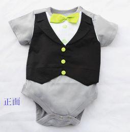 $enCountryForm.capitalKeyWord NZ - Doomagic Baby One-pieces Romper Green Bowties Tuxedo Vest Bodysuits Gentleman bodysuit TOP QUALITY 2 style Retail Drop Shipping