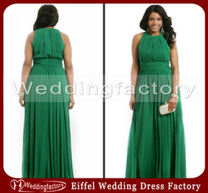Wholesale emerald ruched dress resale online - Hot Sale High Quality Emerald Green Plus Size Formal Dresses A Line Crew Sleeveless Ruched Chiffon Evening Prom Party Gowns Custom Made