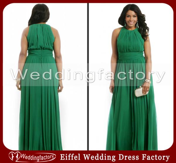 Venta caliente de alta calidad esmeralda verde tallas grandes vestidos formales una línea de tripulación sin mangas de gasa acanalada noche de fiesta vestidos de fiesta por encargo