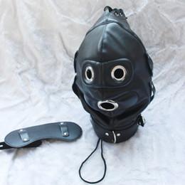DilDo masks online shopping - hot sale leather bondage Hood Mask eyepatch dildo Mouth Gag Plug Headgear Sex product toys