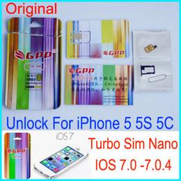 Wholesale Gpp Ios Verizon - Original GPP Turbo Nano Sim Nano unlock For iPhone 5 5S 5C iOS7.02 IOS 6 7.0.4 CDMA GSM AT&T T-MOBILE Sprint Verizon NETELL DIGITEL ROGERS