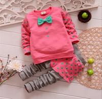 Wholesale Girl Dots Winter Coat - Wholesale -Spring autumn girl clothes girls dot suit coat+pants 2 pieces 100% cotton 3color 4s l