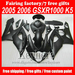 Wholesale gsxr abs motorcycle fairing - Customize Fullset motorcycle ABS Fairing KIT for Matte black 2005 2006 GSXR 1000 K5 GSXR 1000 2005 2006 GSXR1000 05 06 fairings,free gifts