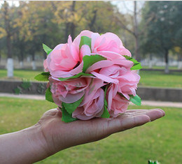Wholesale Wedding Favour Party Flower - 15 CM Diameter Wedding Favours Artificial Kissing Rose Flower Ball for Wedding Party Decorations Free Shipping