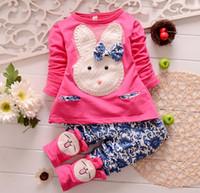 Wholesale Girls Leopard Pants - Wholesale -Spring autumn girl clothes girls rabbit suit coat+pants 2 pieces 100% cotton 5 color 4s l