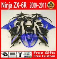 ingrosso cavalletti blu kawasaki-Kit carenature per 09-12 ZX 6R Kawasaki Ninja ZX-6R 2009 2010 2011 2011 carenatura moto da corsa nero blu parti 636 ZX6R ZX636 FG55 + 7 regali