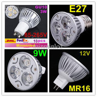 <b>Retail High Power CREE</b> 9W 3x3W GU10 MR16 E27 levou luz lâmpada Spotlight levou bulbo CE ROHS UL