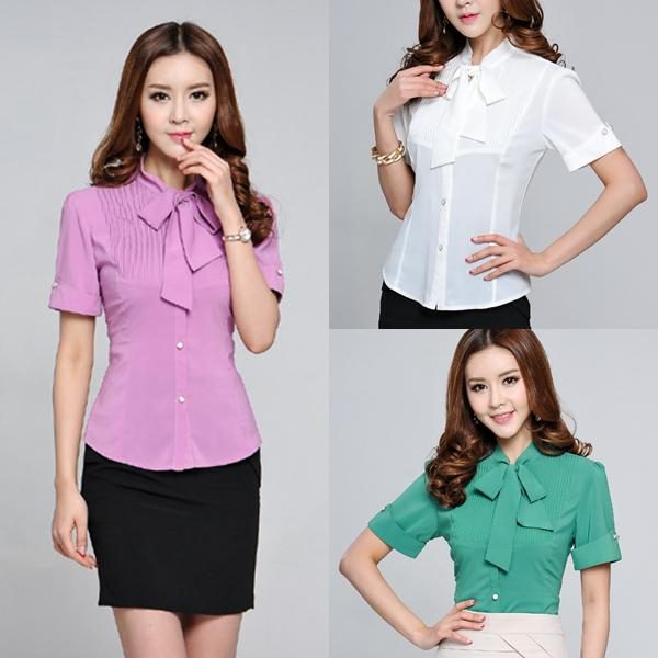 2017 2014 Women's Elegan Slim Office Shirts Tied Neck Design ...