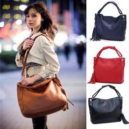 Wholesale Large Black Leather Hobo - S5Q Women Leather Tote Handbag Shoulder Bag Large Capacity Hobo Tassel AAACXR