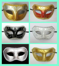 Men Half Face Masquerade Color Masks Canada - hot new design half face party mask 9 color mix fashion decor masquerade Venetian colorfulfor wedding party