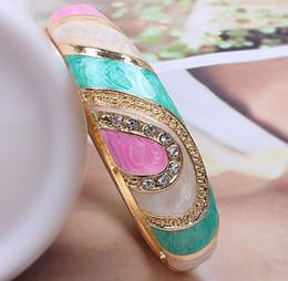 Wholesale Ethnic Jewelry Bracelet - Fashionable Cloisonne Enamel Gold Brand Bracelets Unique Ethnic Rhinestones Women Bangles Alloy Jewelry
