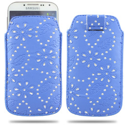 Wholesale Glitter S4 - Multicolor Bling Glitter flower skin Pull Tab Rope Slim leather pouch Pouches case bag Bags cases for Samsung Galaxy S4 SIV I9500 S3