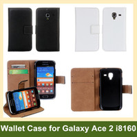 Wholesale Galaxy Ace X - Wholesale 100pcs X Genuine Leather Wallet Flip Cover Case for Samsung Galaxy Ace 2 i8160 DHL EMS Free Shipping
