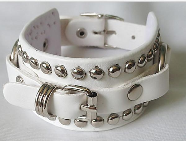 Very cool ! New Leather PUNK rivets buckle belt chain charm bracelets