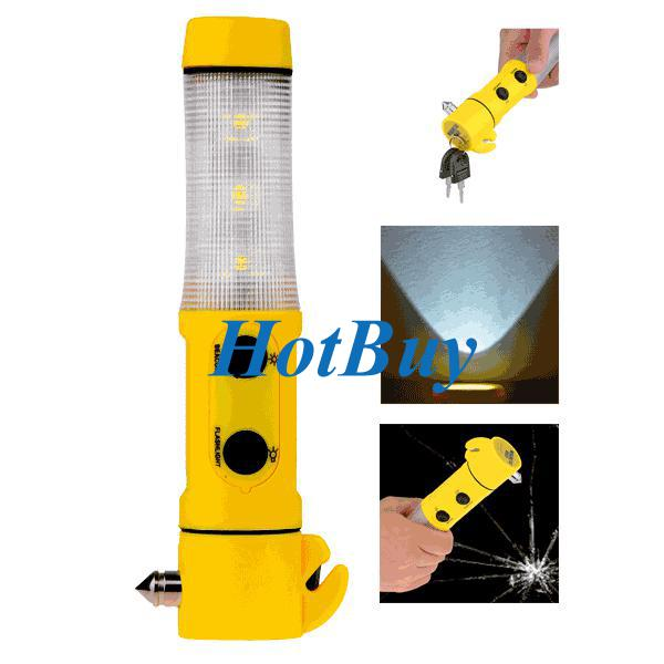 4 in 1 Car Safety Emergency Hammer LED Torch Flashlight Beacon Light Belt Cutter #2835