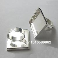 çerçeve halkası tabanı toptan satış-Yüksek kalite 25mm sFree nakliye quare, Ayarlanabilir Yüzük Üsleri / Boşluklar / Gümüş Kaplama Takı bulguları
