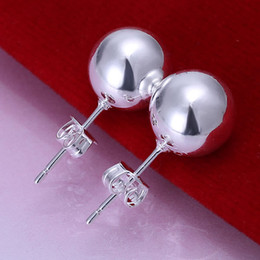 Wholesale Christmas Earings - 925 Sterling Silver jewelry 10mm big bead stud Earings Brand New free shipping Factory Price 925 Silver earrings