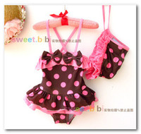 Wholesale Baby Girl Stocking Hats - Fashion summer children swimsuits baby girls coffee big Polka Dot Ruffle Siamese swimwear kids spa beachwear have hats in stock 7048