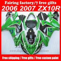 kits de carenado kawasaki del mercado de accesorios al por mayor-Carenados de motocicleta personalizados Greenblack EIF ABS Kit de carenado para kawasaki ninja ZX 10 2006 2007 ZX 10R 06 07 ZX10R kits de carrocería del mercado de accesorios