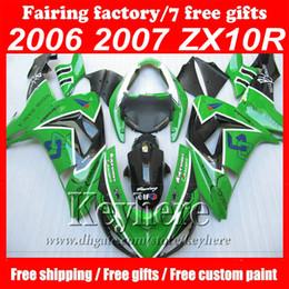 Wholesale Motorcycle Body Kit For Kawasaki - Custom motorcycle fairings Green&black EIF ABS Fairing kit for kawasaki ninja ZX 10 2006 2007 ZX 10R 06 07 ZX10R aftermarket body kits