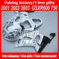 Wholesale Custom Suzuki Gsxr Fairings - Custom ABS Fairing Kit for Suzuki K1 01 02 03 GSXR 600 R750 2001 2002 2003 2003 GSXR600 GSXR750 WHITE CORONA Extra fairings kit,Free 7 gifts