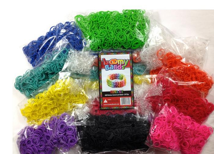 Rubber Band - 6000 pcs Premium Rainbow Color Loom Bands - 10 Beautiful Colors Conveniently Separated! - Includes 250 S and C Clips!