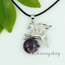 Wholesale Jade Horses - tiger's-eye amethyst glass opal jade semi precious stone necklaces with pendants openwork wings round horse green stone