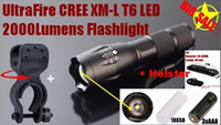 Wholesale Holsters For Torches - G700 E17 CREE XM-L T6 2000LM Zoomable CREE LED flashlight Torch For 3xAAA or 1x18650 battery + mount   flashlight holster