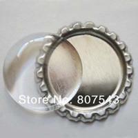 "Wholesale Epoxy Sticker Clear - 1"" 25.4MM 100Pcs Round Metal Flattened Chrome Bottle Cap & 100Pcs Matching Clear Circle Round Epoxy Dome Sticker"