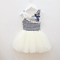Wholesale Strip Skirt - hot sale new summer girls tutu dresses girls sleeveless lace dress girls white green pink strip bow tutu skirts dress for 2-6T