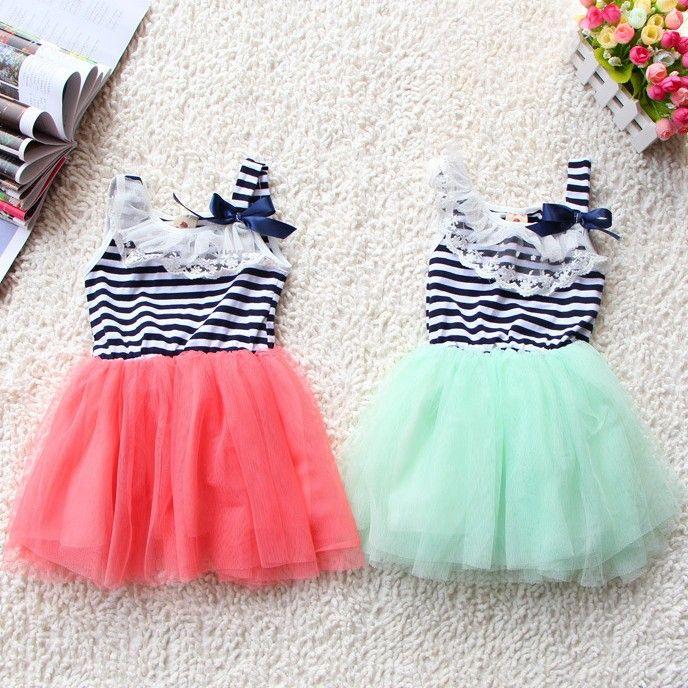 hot sale new summer girls tutu dresses girls sleeveless lace dress girls white green pink strip bow tutu skirts dress for 2-6T