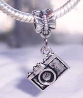 Wholesale Mm Photography - Hot ! Antique Silver Camera Photographer Photo Photography Dangle Charm Bead for European Bracelet 28.5 x 15 mm (z024)
