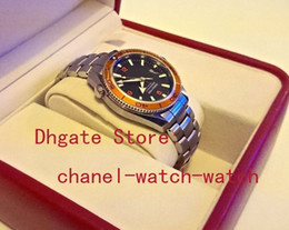 Wholesale Planet Box - AAA Sea Planet Ocean Co-Axial Stainless steel Automatic Movement Mens Watch Orange Bezel Men's Date Sport WristWatches Original Box Papers