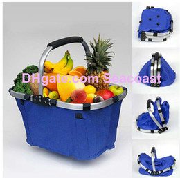 Wholesale Bag For Market - 20pcs lot Waterproof Folding Market Tote Basket Reuseable Grocery Shopping Bag for Wine Beverages Snacks Fruit Vegetable