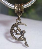 Wholesale Crescent Moon Bracelet - Hot ! 40pcs   70pcs or 100pcs Antique Bronze Fairy Crescent Moon Celestial European Dangle Bead for Charm Bracelet 35 mm x 18 mm (z029)