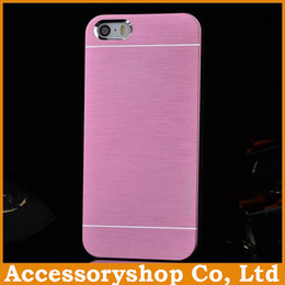 Wholesale Iphone Back 4s Plastic - For iPhone 4 4S 5 5S MOTOMO Metal & PC Case New Design Colorful Brushed Pattern Cover Slim Aluminium Alloy Back Shell POST 50pcs