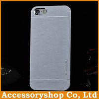 Wholesale Wholesale Iphone 4s Backs Colors - For iPhone 4S 5S MOTOMO Metal & PC Case New Design Colorful Brushed Pattern Cover Slim Aluminium Alloy Back Shell 6 Colors 50pcs
