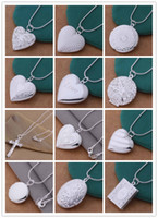 Wholesale Heart Locket Photo - 24pcs Mix 12 styles 925 silver plated heart and cross pendant necklace fashion jewelry Valentines gift photo Locket NE51