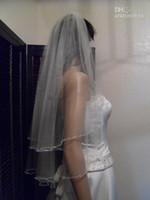 çift düğün peçe toptan satış-2020 Yeni Çift Katman Cascade Boncuklu Düğün Veil Swarovski Kristalleri ve İnciler Beyaz Fildişi Gelin Veils Gelin Aksesuarları Ücretsiz Kargo