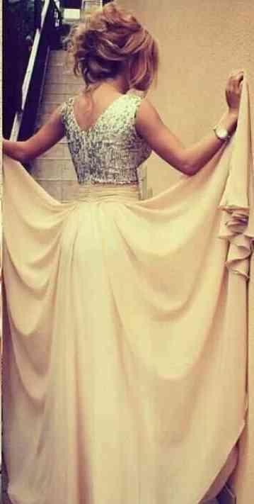 V Neckline Sleeveless Beads celebrity Gowns Throughtout Bodice Back Zipper Empire Waist Floor Length Rufflle Chiffon Celebirty Formal Dress