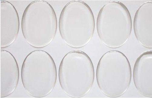 / CLEAR 25 * 18mm Oval Epoxy Sticker 1 tum 3d Crystal Bottle Caps Ellipse Klistermärke