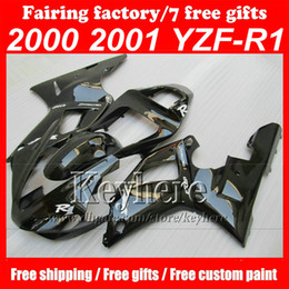 Wholesale Customize Yzf R1 - Customize full set motorcycle fairings kit for YZFR1 00 01 YZF-R1 2000 2001 glossy black Bodywork Fairing KIT Aftermarke,with free gifts