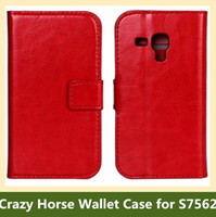 Wholesale Leather Flip Cover Galaxy S7562 - Wholesale Fashion Crazy Horse Pattern PU Leather Wallet Flip Cover Case for Samsung Galaxy Trend Duos S7562 10pcs lot Free Shipping