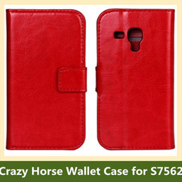 Wholesale S7562 Cases - Wholesale Fashion Crazy Horse Pattern PU Leather Wallet Flip Cover Case for Samsung Galaxy Trend Duos S7562 10pcs lot Free Shipping