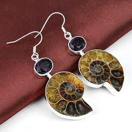 Wholesale Unique Drops - 2015 Top Fashion Rushed Party Jaquetas Femininas free Shipping--natural Ammonite for Fossils Drop Elegant 925 Silver Unique Natural Earrings