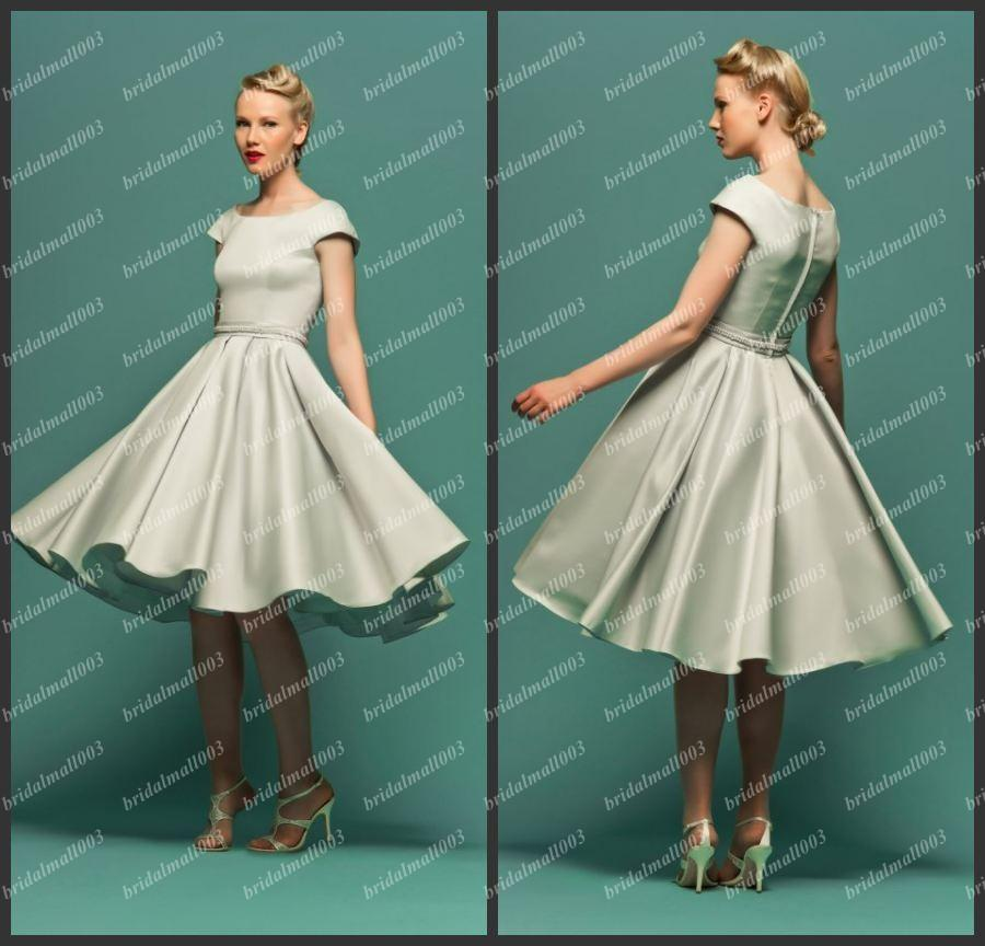 2015 Classic Satin Prom Dress Fifties Style Dress With Full Swing ...