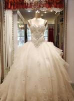 vestidos de noiva em organza venda por atacado-Frete grátis querida nupcial vestidos de casamento estilo mais novo apliques artesanais Beading vestido de baile de cristal vestidos de noiva