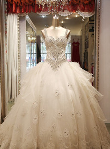 Wholesale Sweetheart Bridal Wedding Dresses Newest Style Appliques Handmade Beading Crystal Ball Gown Bridal Gowns