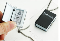 Wholesale Death Notes - 10pcs lot Vintage Unique Bronze Quartz Pocket Watch Open Death Note Pendant Necklace Gift