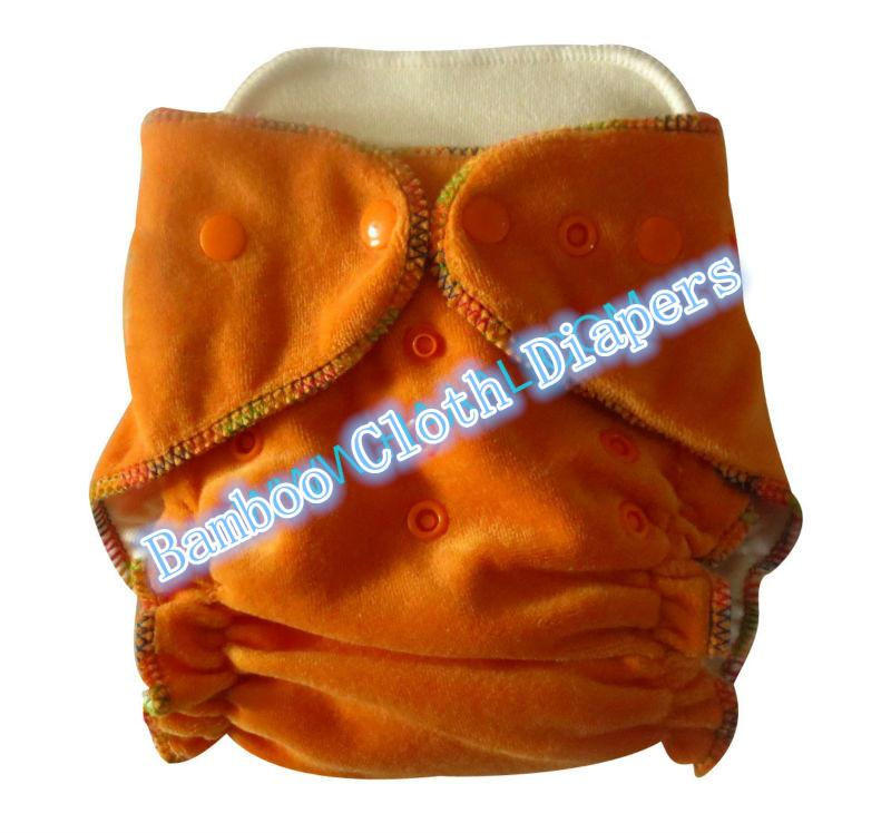 2014 High quality diaper Organic Bamboo Velour fitted baby Cloth diaper with insert Nappy